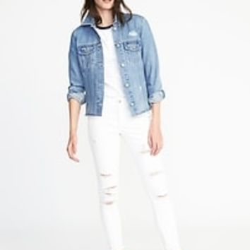 Distressed Raw-Edged Denim Jacket for Women | Old Navy