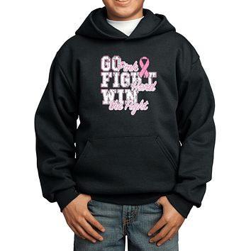 Kids Breast Cancer Hoodie Go Fight Win