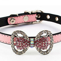 Adjustable Pet Dog Cat Leather Buckle Collar Bling Gem Diamond Rhinestone Bow Style XS,Pink