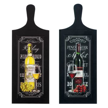 Wooden Wine Bottle Wall Art -Set of 3