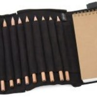 BARNES & NOBLE | Black Leather Sketch Set With Color Pencils by Barnes & Noble
