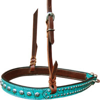 Bar H Equine Turquoise Gator Series Noseband w/Spots