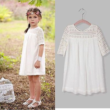 Chic White Princess Baby Girl Summer Dresses Lace Floral Brief Formal Party Gown Dresses Casual Clothes 2 3 4 5 6 7 8 9 Years