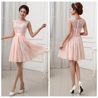 Peach Lace Sleeveless Princess Pleated Mini Dress