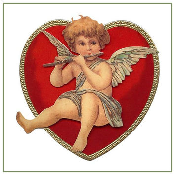 Vintage Valentine Cupid Playing Flute in Heart Counted Cross Stitch or Counted Needlepoint Pattern