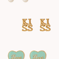 FOREVER 21 Love Stud Set Mint/Gold One