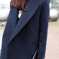 Retro British style double-breasted wool coat was thin