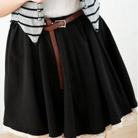 Crayon Color Lace Border Short Skirt With Belt Black-Wholesale Women Fashion From Icanfashion.com
