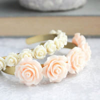 Rose Cuff Bracelet Peach Bridal Jewelry Ivory Cream Flower Bangle Stacking Bracelet Adjustable Romantic Vintage Style Wedding Jewelry