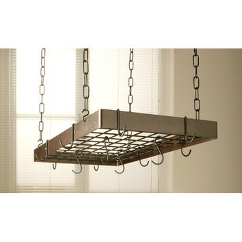Rogar Rectangular Hanging Pot Rack with Grid In Hammered Copper and Black