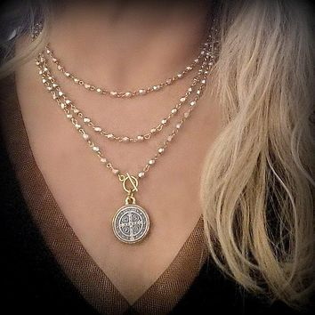 St Benedict Coin Pendant Necklace, Long SILVER and GOLD Wrap Around Necklace Bracelet, Convertible, Long Beaded Pendant Necklace