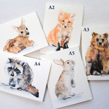 Watercolor Animal Cards - Mix and Match - Set of 8