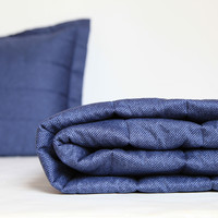 Chambray Denim Quilted Coverlet and Sham Set