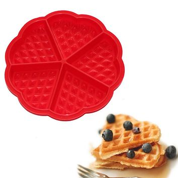 Useful Silicone Waffle Mold Maker Pan Microwave Baking Cookie Cake Muffin Bakeware Kitchen Tools Random Color