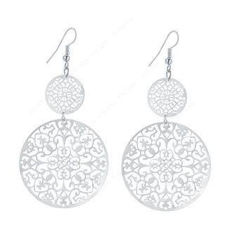 Round Hollow Drop Earrings