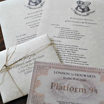 Your Very Own Harry Potter Hogwarts Acceptance Letter (Includes FREE Ticket on Hogwarts Express)