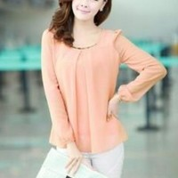 Solid Color Casual Long Sleeve Chiffon Blouse Shirts Round Neck Long Puff