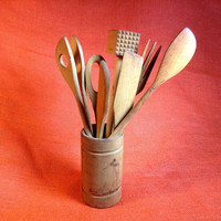 Vintage Primitive 9 Piece All Wood Kitchen Utensils and Holder - Large Spoon, Fork, Tenderizer, Stirring Spoons, Spatulas
