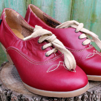 vintage oxblood leather wedge booties size 8 / southwestern lace up platform mules / retro burgundy tan boot wedges