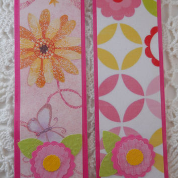 Bookmark Class Party Favors Pink Flower End of School Year - Set of 12