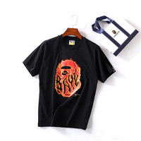 Ape man big head flame summer short sleeve t-shirt [10425654535]