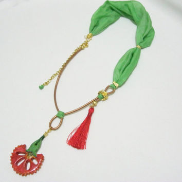ceramic necklace, green silk necklace, carnation necklace, red necklace, tassel necklace, gold plated, unique necklace, handmade ceramic