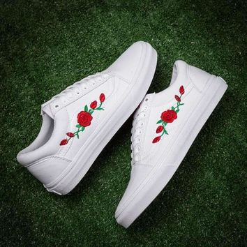 Vans x AMAC Customs Old Skool Canvas Flower Embroidery Flats Sneakers Sport Shoes