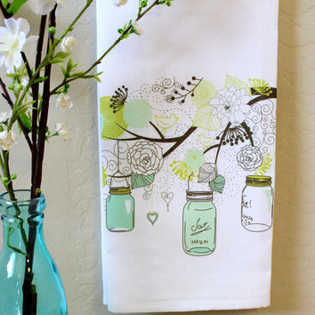Mason Jars and Flowers hanging from a Tree Kitchen Towel, Tea Towel, Flour Sack
