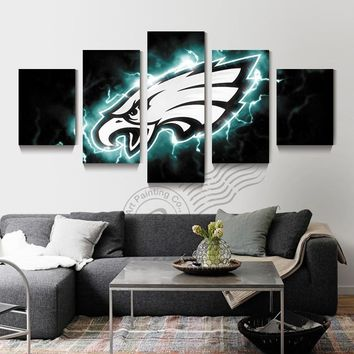 5 Piece Philadelphia Eagle Sport Logo Poster Wall Painting Prints Canvas Art Home Decor Wall Picture For Living Room Unframd