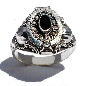 Sterling Silver Bali Oval Poison Ring with Genuine Black Onyx