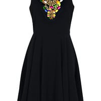 Joe Woven Bead Trim Skater Dress