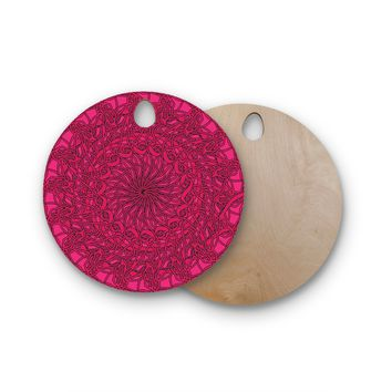 "Patternmuse ""Mandala Spin Berry"" Pink Geometric Round Wooden Cutting Board"