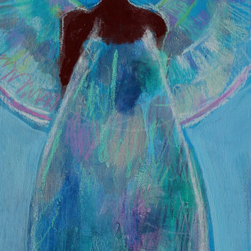"Small Abstract Figure Painting, Fairy, Angel, Blue Spirit, Original Acrylic ""Fairy Dream"" 6x12"""