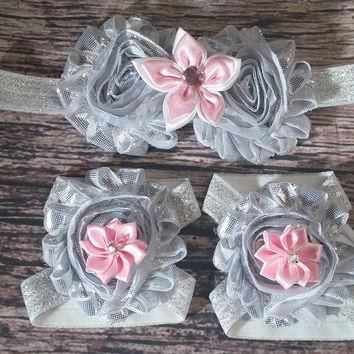 Metallic Silver and Light Pink Flowers on Silver Glitter Band Headband and Barefoot Sa