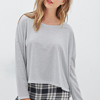 FOREVER 21 Scoop Neck Striped Top Cream/Grey