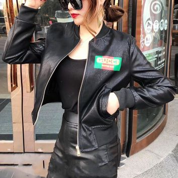 """Gucci"" Women Fashion Multicolor Letter Pattern Long Sleeve Zip Cardigan Short Section PU Leather Clothes Jacket Coat"