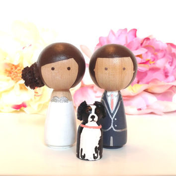 Wooden WEDDING CAKE TOPPER With Pet Custom Kokeshi Doll Wedding Cake Toppers Cute Cake Toppers