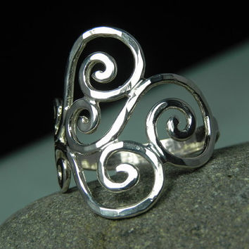RING  Sterling Silver Swirls Spirals Ring  by FantaSeaJewelry