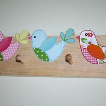 Sweet Tweat Little Birdie Wooden CLOTHES PEG Rack Bathroom Bedroom CR0014