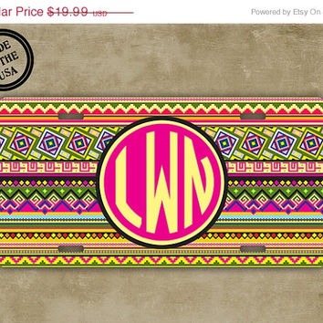 SALE Personalized monogrammed license plate - Aztec monogrammed car tag - Tribal pattern with hot pink monogram - monogram car tag (9887)