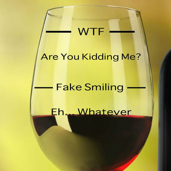 Funny Wine Glasses ~ WTF Wine Glass ~ personalized wine glass for girlfriend, Wife, birthday gift ideas, coworker, sister, hostess, 20 oz