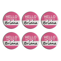 Briana Hello My Name Is Plastic Resin Button Set of 6