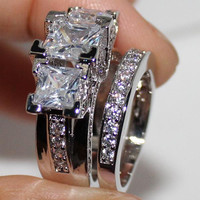 Sterling Silver Square Simulated Diamond CZ Stone Statement Wedding Band Set