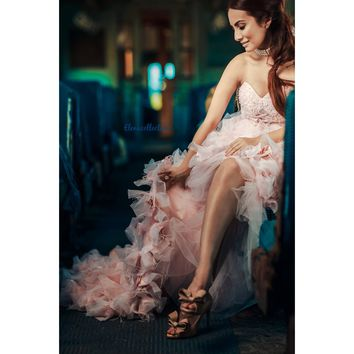 Moet-Couture Feather Dress-quinceanera-wedding gown-photoshoots