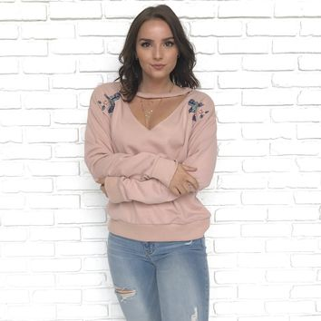 Fly Like a Bird Sweater in Blush