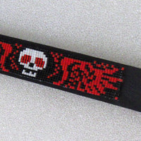 Hand Beaded Skull On Leather Cuff Bracelet