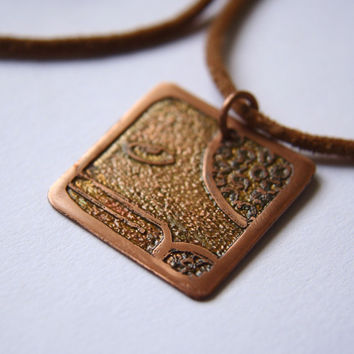 SERPENT Mayan Pendant ( Maya CHICCHAN / Spanish SERPIENTE ). Galactic Symbol or Gliph or Sign Maya. Etched copper