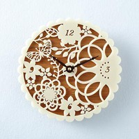 The Land of Nod: Kids' Clocks: Bamboo Decorative Wall Clock in Clocks