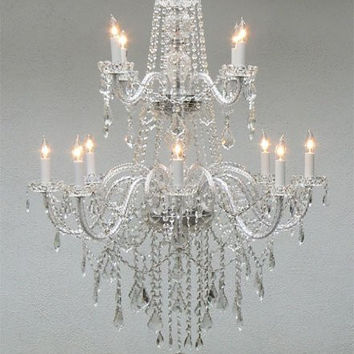 Authentic All Crystal Chandelier Lighting - A46-3/385/8+4