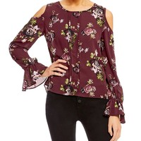 Takara Cold-Shoulder Floral-Print Top | Dillards